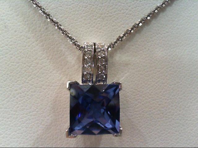 Sapphire Gold-Diamond & Stone Pendant 10 Diamonds .10 Carat T.W. 10K White Gold