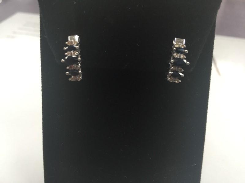 Synthetic Sapphire Gold-Diamond & Stone Earrings 16 Diamonds .16 Carat T.W.