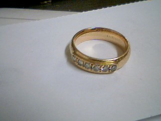Gent's Gold-Diamond Wedding Band 6 Diamonds .36 Carat T.W. 14K Yellow Gold