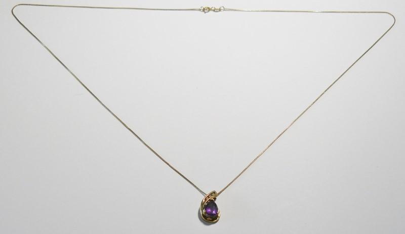 """21"""" Teardrop Amethyst Necklace 3 Diamonds .12 Carat T.W. 14K/10K Yellow Gold"""