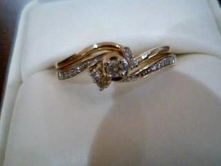 Lady's Diamond Engagement Ring 15 Diamonds .29 Carat T.W. 10K Yellow Gold 3.4g