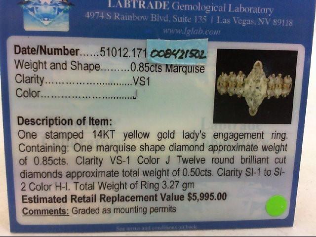 Lady's Diamond Engagement Ring 13 Diamonds 1.35Carat T.W. 14K Yellow Gold