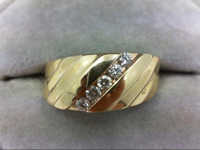 Gent's Gold-Diamond Wedding Band 5 Diamonds 0.25 Carat T.W. 14K Yellow Gold 6.3g