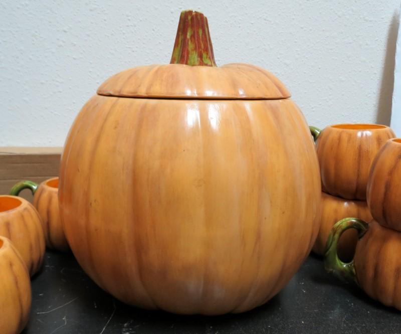 Signed 1968 &1974 Hand Made Ceramic Pumpkin Party Set (15 Pieces)