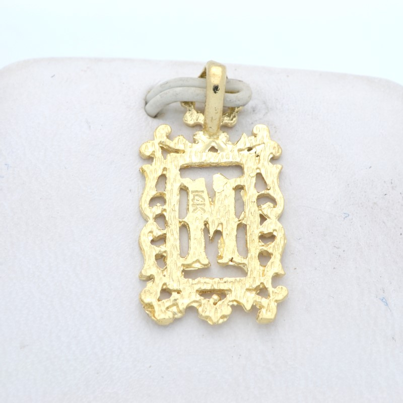 LETTER M CHARM PENDANT SOLID 14K YELLOW GOLD MONOGRAM SCROLL INITIAL