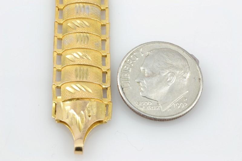 """7"""" ESTATE DESIGN WIDE LINK FINE BRACELET REAL 18K GOLD 9.4g"""