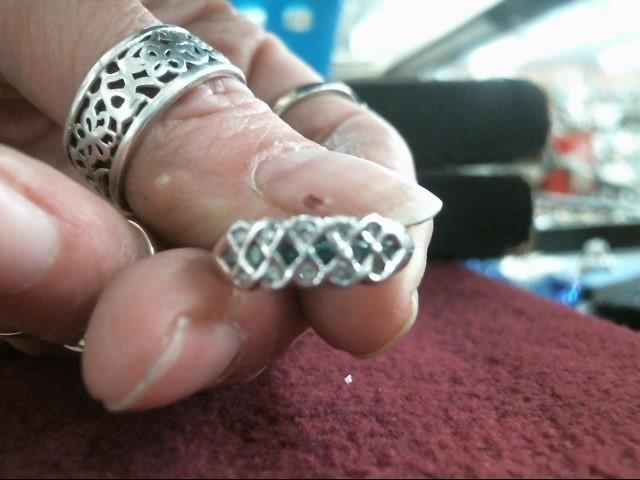 Blue Stone Gold-Diamond & Stone Misc. 10 Diamonds .20 Carat T.W. 14K White Gold