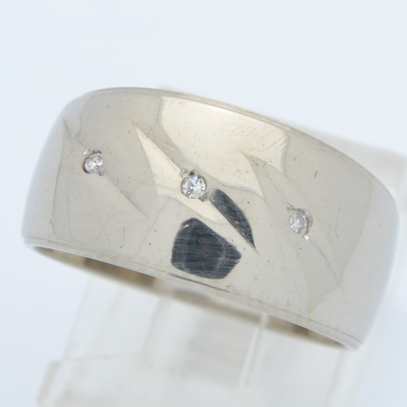 ESTATE DIAMOND RING BAND SOLID 14K WHITE GOLD WEDDING WIDE SIZE 7