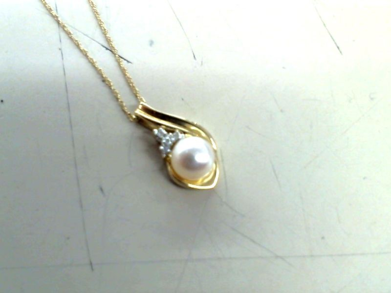 Synthetic Pearl Diamond & Stone Necklace 4 Diamonds .08 Carat T.W.