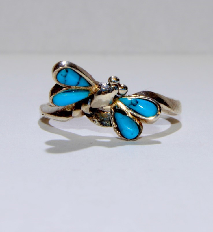 Silver & Turquoise Dragonfly Ring 925