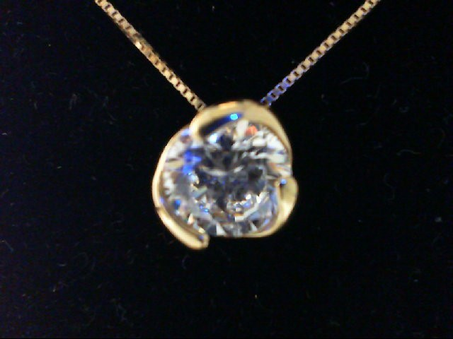 Cubic Zirconia Gold-Stone Pendant 10K Yellow Gold 2.2g