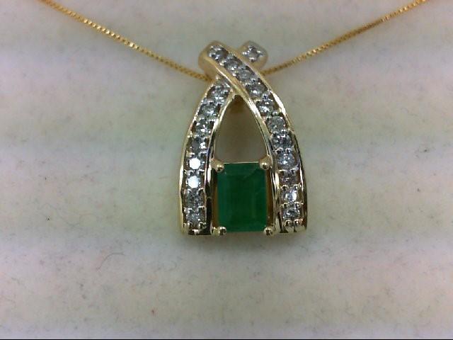 Gold-Diamond & Stone Pendant 20 Diamonds 0.6 Carat T.W. 14K Yellow Gold 3.2g