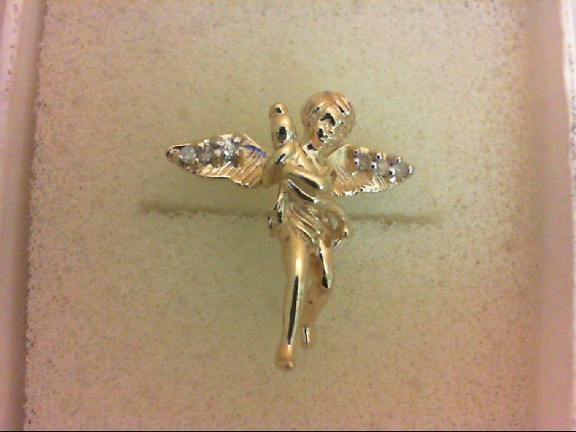 Gold-Multi-Diamond Pendant 6 Diamonds 0.06 Carat T.W. 14K Yellow Gold 1.9g