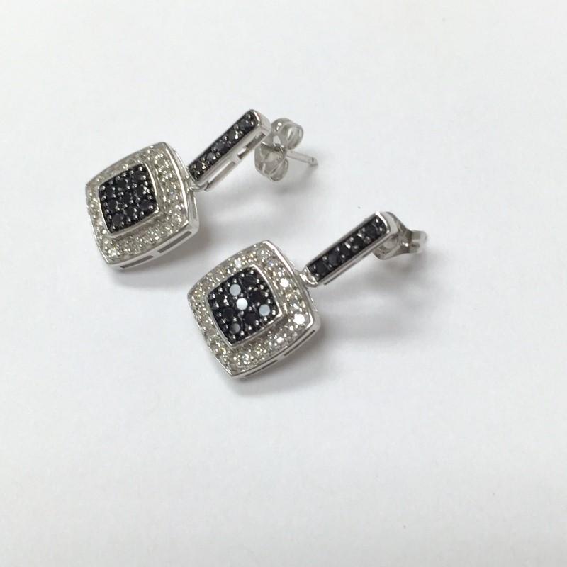 Gold-Black & White Diamond Earrings 68 Dias .68 Carat T.W. 14K White Gold 1.8dwt