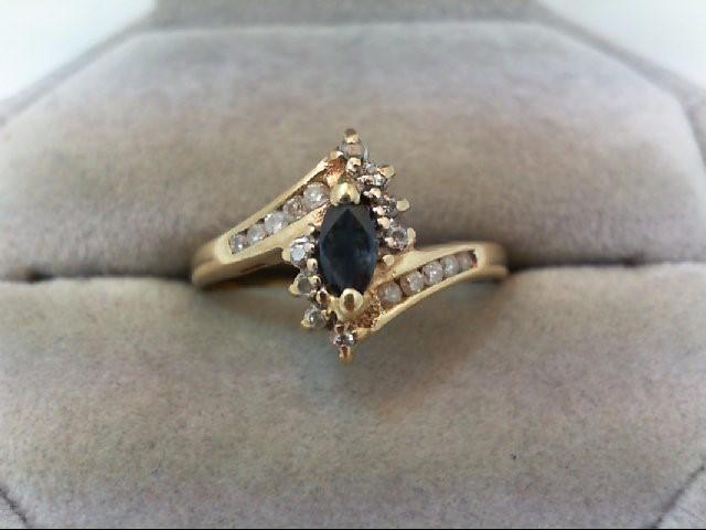 Sapphire Lady's Stone & Diamond Ring 18 Diamonds .34 Carat T.W. 10K Yellow Gold