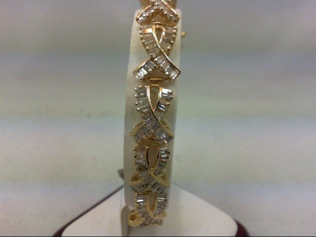 Gold-Diamond Bracelet 247 Diamonds 6.00 Carat T.W. 14K Yellow Gold 21.63g