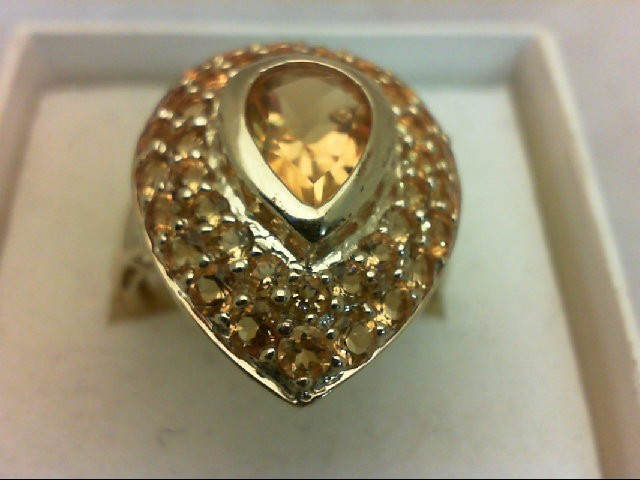 Citrine Lady's Stone Ring 10K Yellow Gold 5.7g