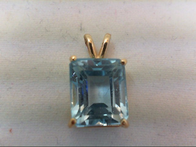 Blue Topaz Gold-Stone Pendant 14K Yellow Gold 2.7g