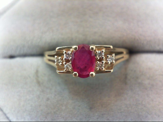 Ruby Lady's Stone & Diamond Ring 6 Diamonds .06 Carat T.W. 14K Yellow Gold 2.4g