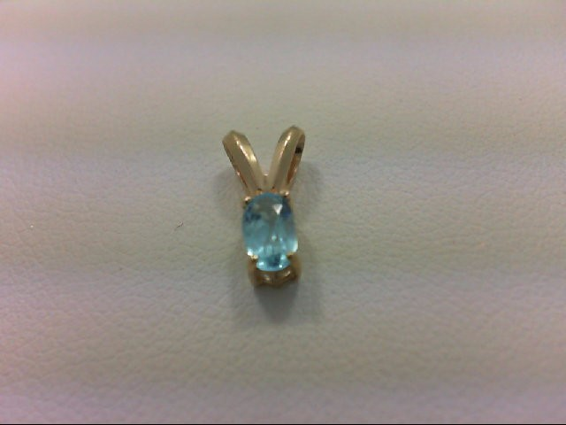 Blue Topaz Gold-Stone Pendant 14K Yellow Gold 0.4g