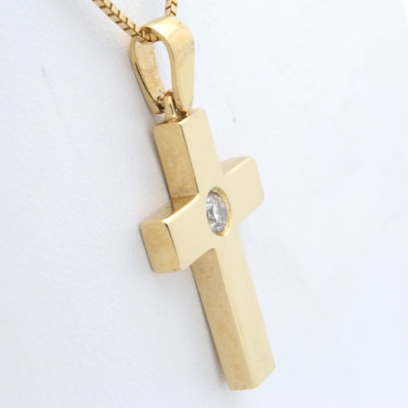 ESTATE DIAMOND CROSS PENDANT CHARM SOLID 14K GOLD CHRISTIAN JESUS