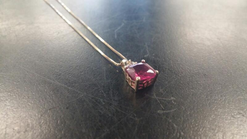 "19"" NECKLACE 10K-Y/G, 1-CUSHION-CUT LAB CREATED RUBY"