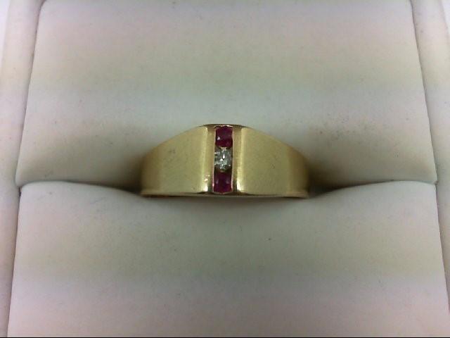 Ruby Lady's Stone & Diamond Ring 0.02 CT. 14K Yellow Gold 2.7g Size:5.5