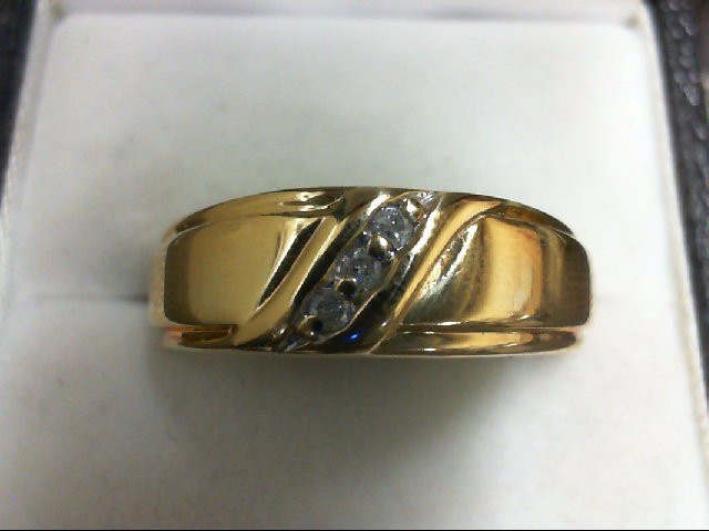 Gent's Gold-Diamond Wedding Band 3 Diamonds 0.09 Carat T.W. 10K Yellow Gold 3.5g
