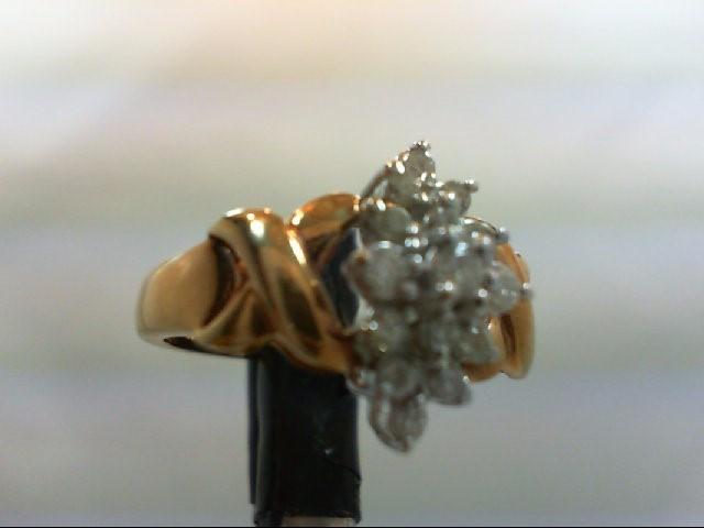 Lady's Diamond Cluster Ring 15 Diamonds 0.31 Carat T.W. 10K Yellow Gold 2.9g
