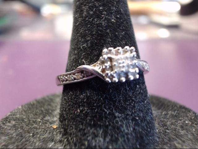 Lady's Diamond Cluster Ring 22 Diamonds .22 Carat T.W. 10K White Gold 2.11g