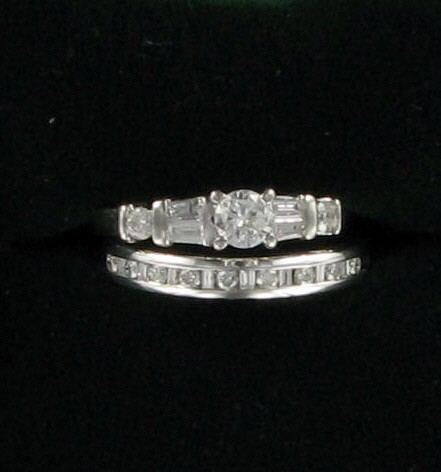 Lady's Diamond Wedding Set 16 Diamonds .86 Carat T.W. 14K White Gold 4.2dwt