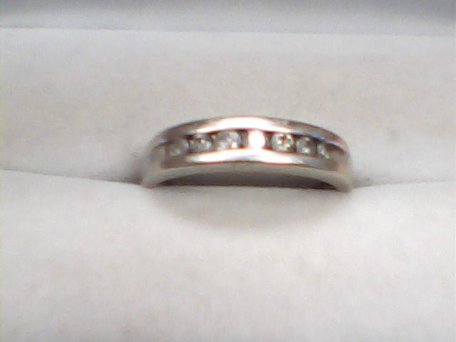 Gent's Gold-Diamond Wedding Band 7 Diamonds .35 Carat T.W. 14K White Gold 4dwt