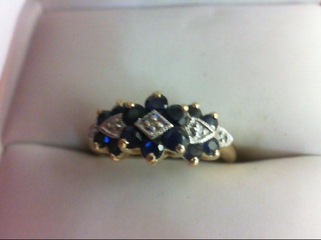Sapphire Lady's Stone & Diamond Ring 5 Diamonds 0.05 Carat T.W. 10K Yellow Gold