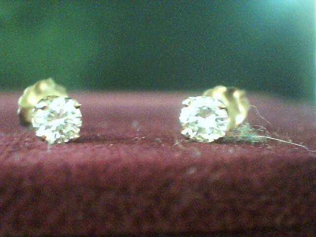 Gold-Diamond Earrings 2 Diamonds .20 Carat T.W. 14K Yellow Gold 0.2dwt