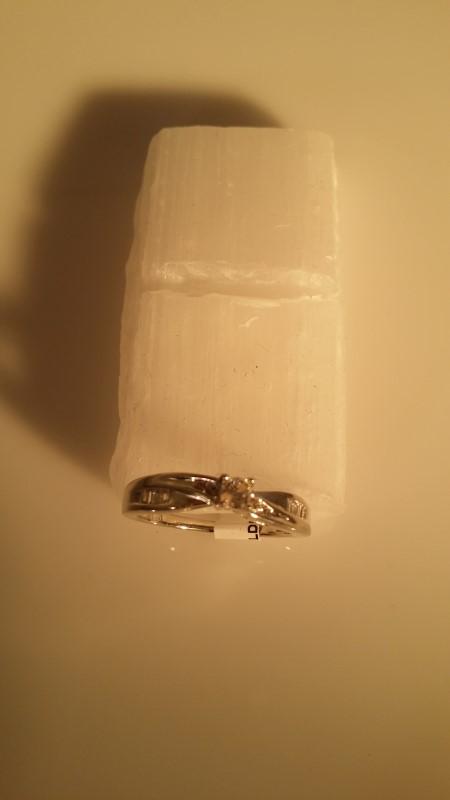 Lady's Silver-Diamond Ring 13 Diamonds .30 Carat T.W. 925 Silver 2.3g