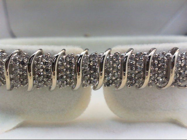 Gold-Diamond Bracelet 380 Diamonds 4.00 Carat T.W. 10K White Gold 14.14g