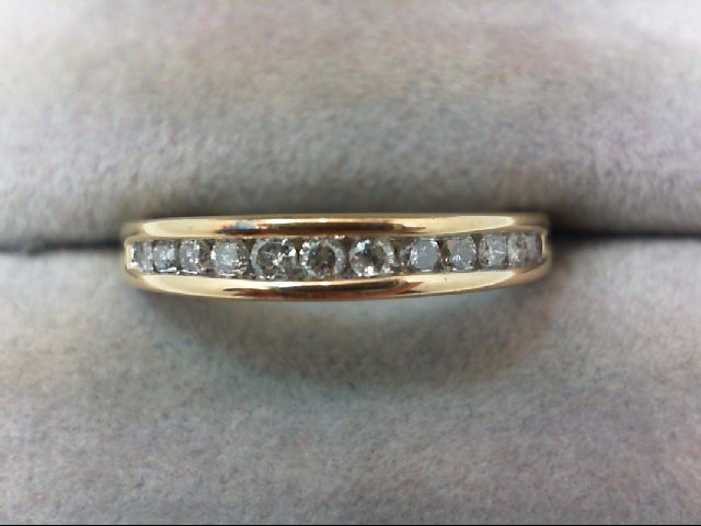 Lady's Diamond Wedding Band 12 Diamonds 0.24 Carat T.W. 14K Yellow Gold 3.2g