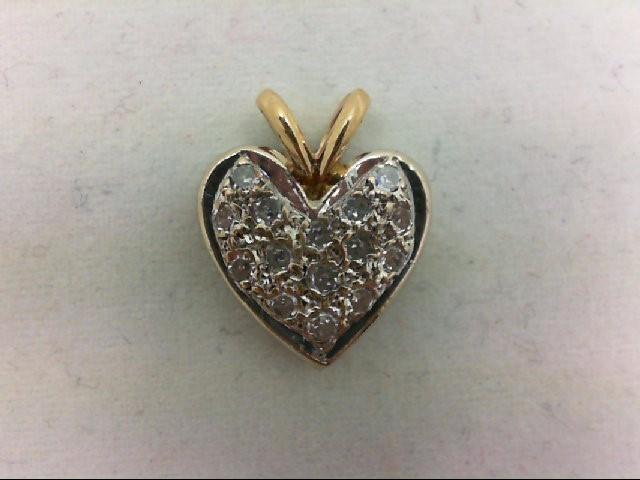 Gold-Multi-Diamond Pendant 15 Diamonds 0.15 Carat T.W. 14K Yellow Gold 1.7g