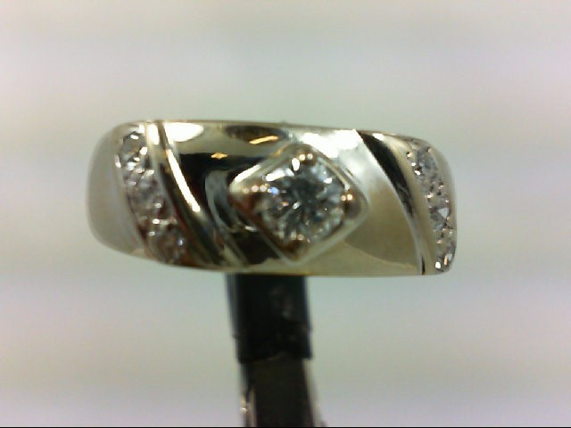 Gent's Gold-Diamond Wedding Band 7 Diamonds 0.49 Carat T.W. 14K White Gold 6.23g