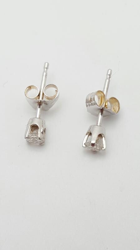 Gold-Diamond Earrings 2 Diamonds .18 Carat T.W. 14K White Gold 0.5g