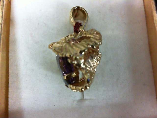 Amethyst Gold-Stone Pendant 14K Yellow Gold 4.1g