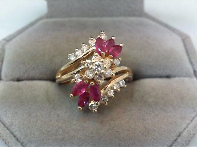 Ruby Lady's Stone & Diamond Ring 19 Diamonds .47 Carat T.W. 14K Yellow Gold
