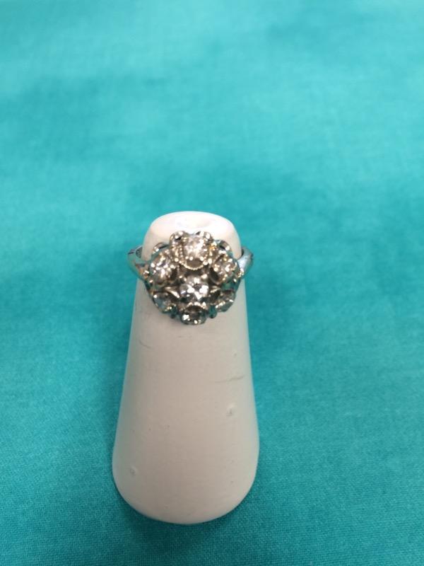 Lady's Diamond Cluster Ring 7 Diamonds 1.6 Carat T.W. 14K White Gold 3.2dwt