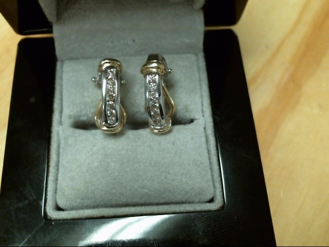 Gold-Diamond Earrings 14 Diamonds .14 Carat T.W. 14K Yellow Gold 1dwt