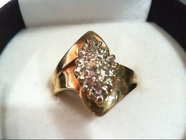 Lady's Diamond Cluster Ring 4 Diamonds .020 Carat T.W. 10K Yellow Gold 3.3g