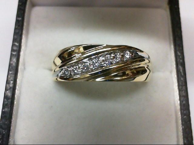 Gent's Gold-Diamond Wedding Band 7 Diamonds 0.21 Carat T.W. 10K Yellow Gold 4.5g
