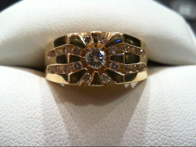 Gent's Gold-Diamond Wedding Band 21 Diamonds .56 Carat T.W. 14K Yellow Gold