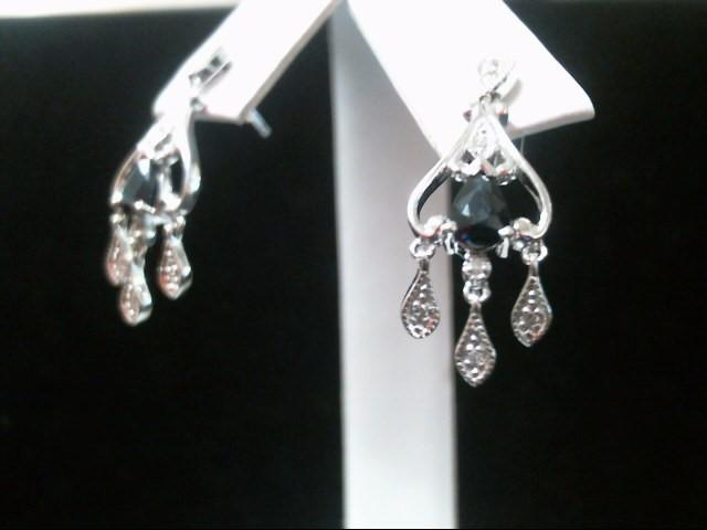 Blue Stone Gold-Diamond & Stone Earrings 14 Diamonds .14 Carat T.W.