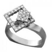 LADY'S SPINNER STYLE DIAMOND RING 14K WHITE GOLD 0.58CTW APPRX