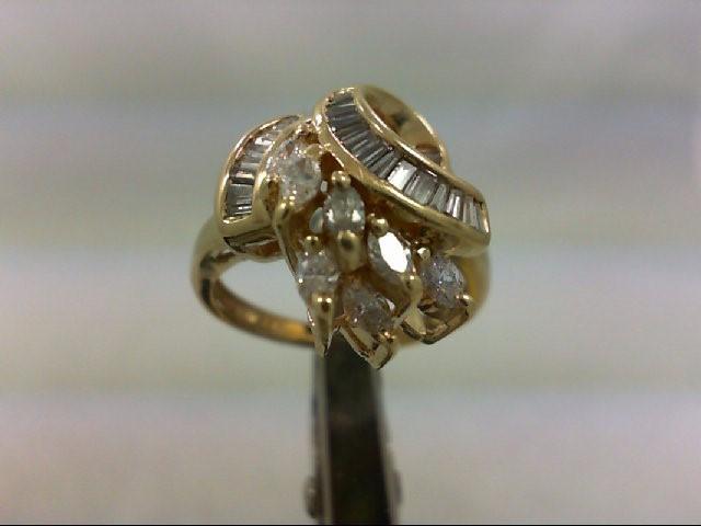 Lady's Diamond Cluster Ring 34 Diamonds .62 Carat T.W. 14K Yellow Gold 4.4g